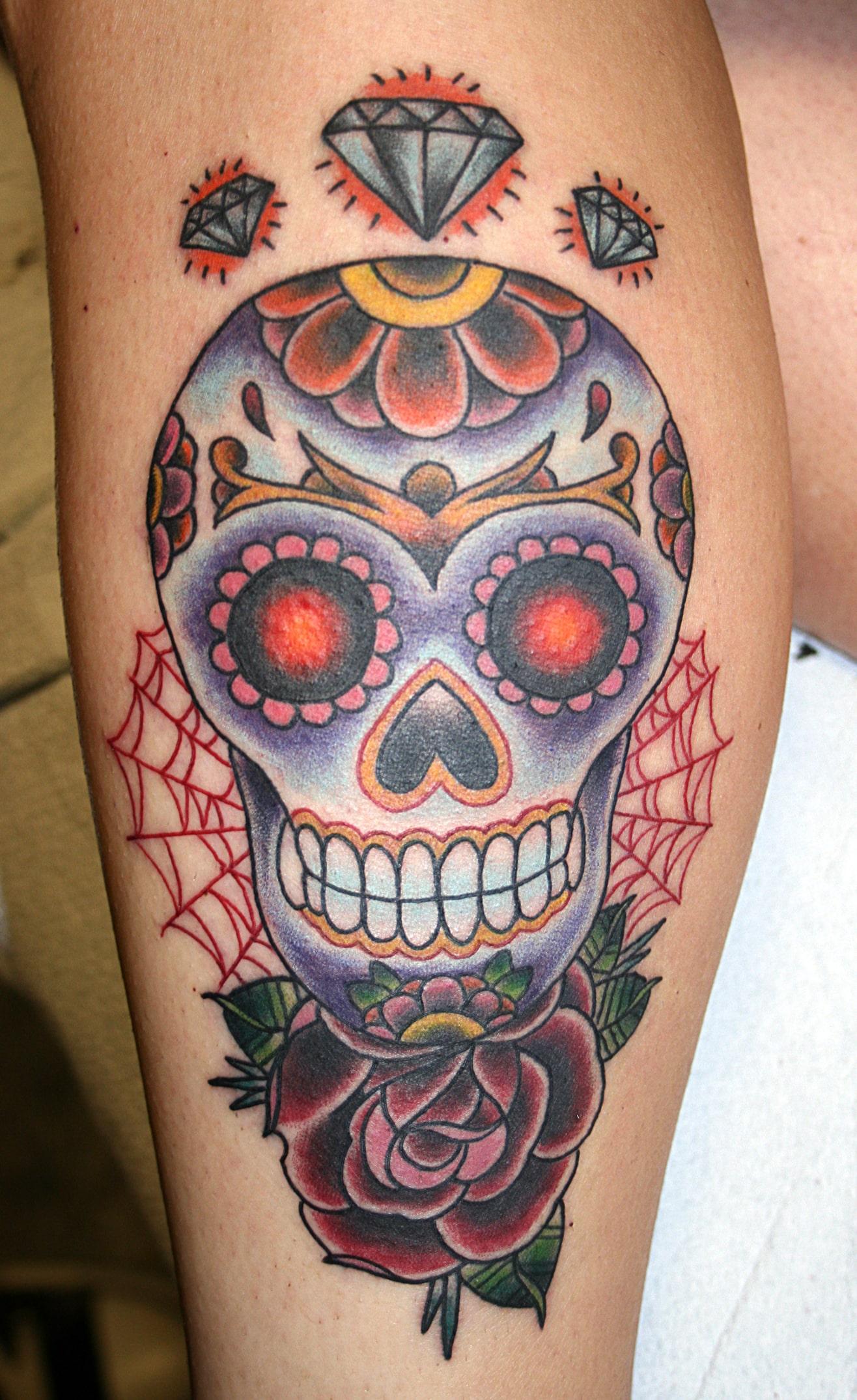 Tattoo Stencils For Women: 33 Crazily Gorgeous Sugar Skull Tattoos -DesignBump