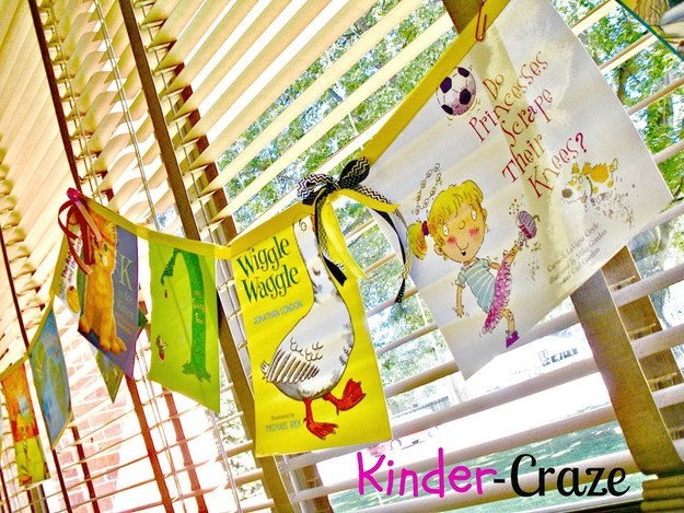 Turn book dust jackets into a banner to hang in your classroom library.