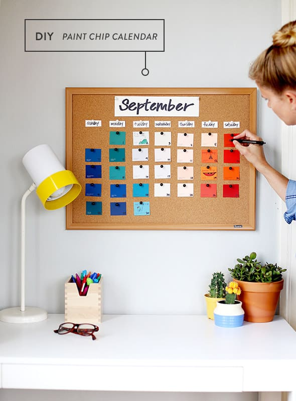 Pin Paint Chips To A Cork Board To Make A Colorful And Cheap Calendar. Part 8