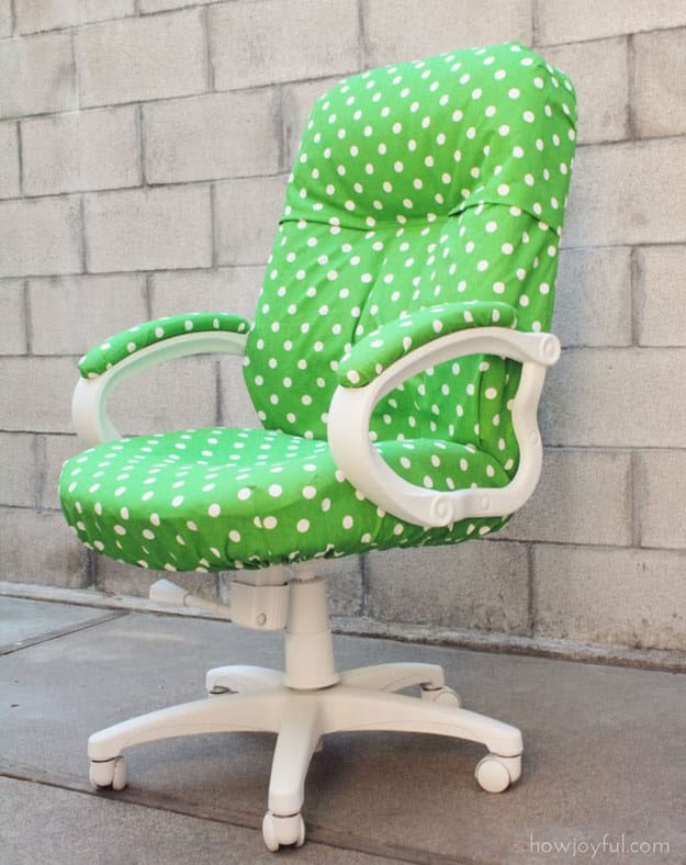 Cover up a dingy desk chair with cheery fabric.