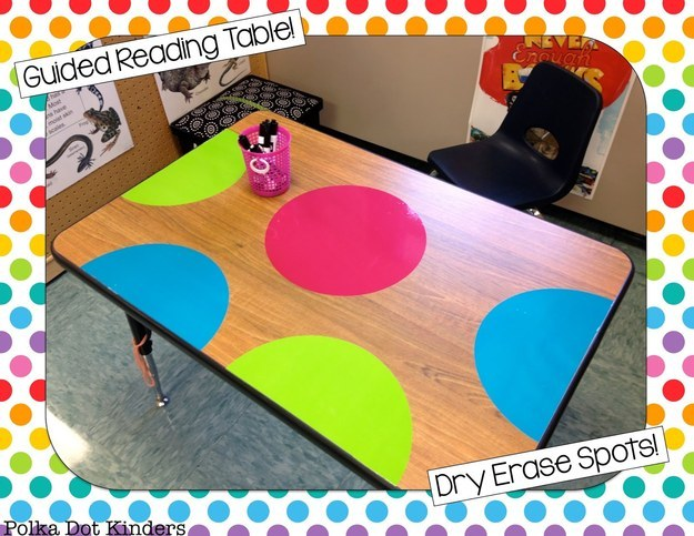 Or to add polkadots to your tables — you can write on them with dry-erase markers!