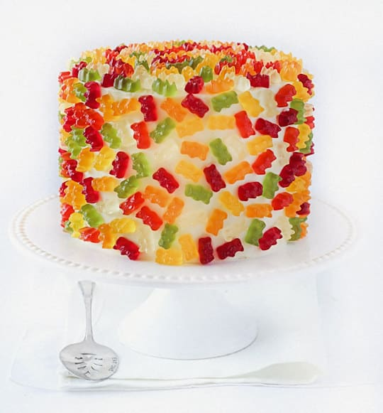 Can't get enough gummy bears? Cover an entire cake with them!