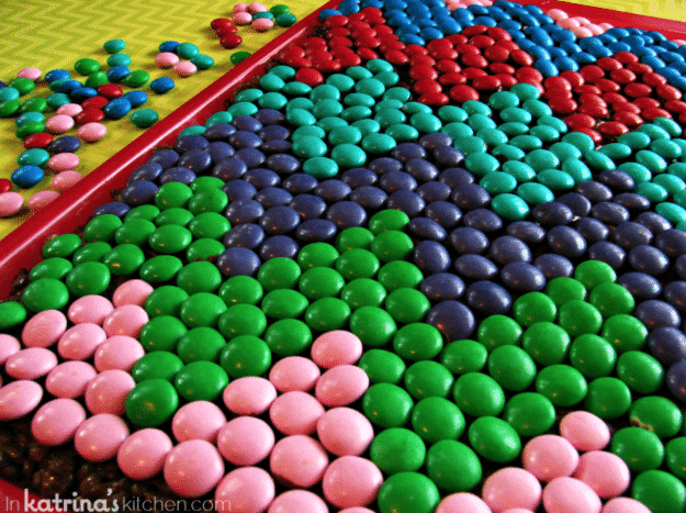 Use M&M's to top your cake with a pattern.