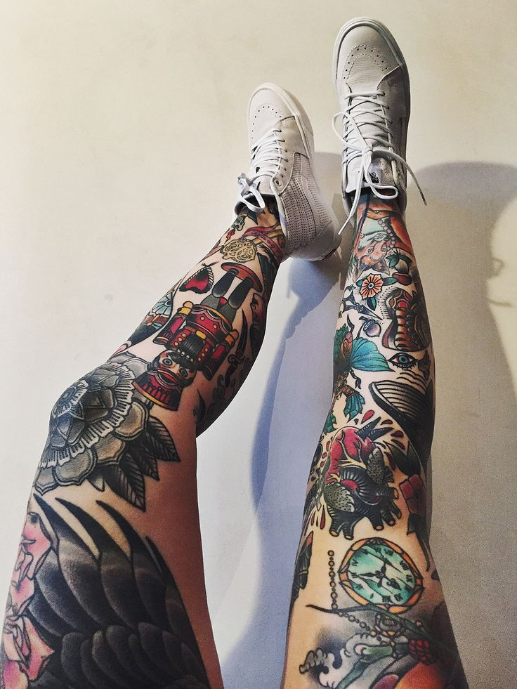 3c994ad9f 22 Awesome Leg Sleeve Tattoos -DesignBump
