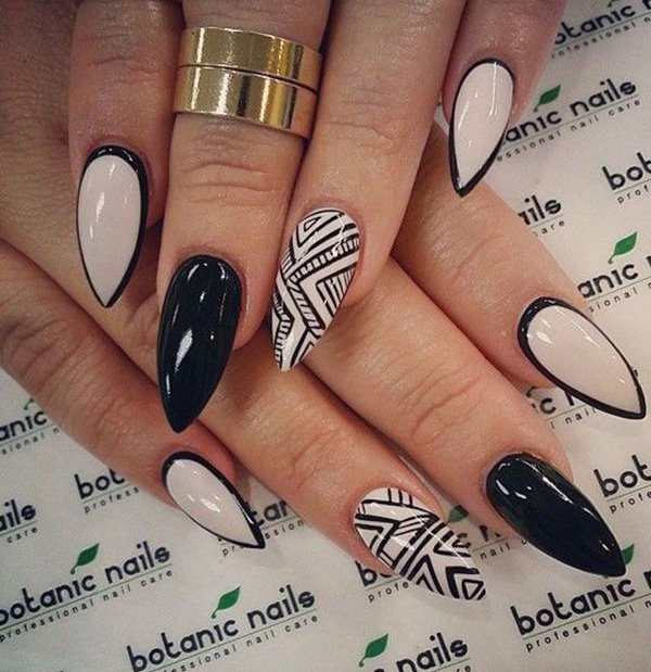 50 crazily cool black and white nail art designbump prinsesfo Images