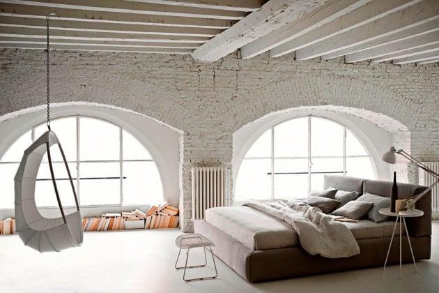 white industrial bedroom