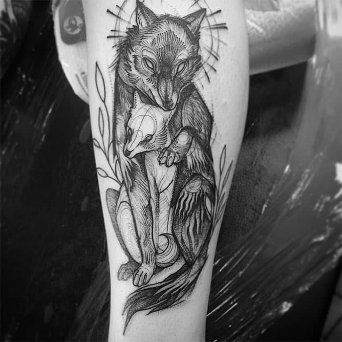 pencil sketch fox tattoo