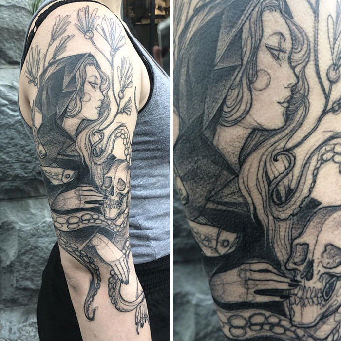 The pencil sketch lady on the arm