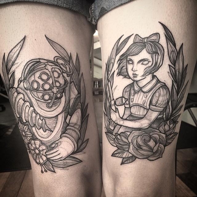 leg pencil tattoo art
