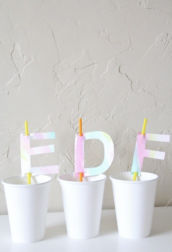 Watercolor Monogram Straw Toppers