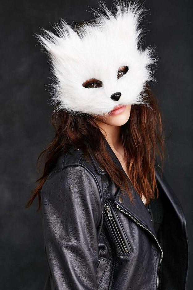 Paper Mache White Cat Mask