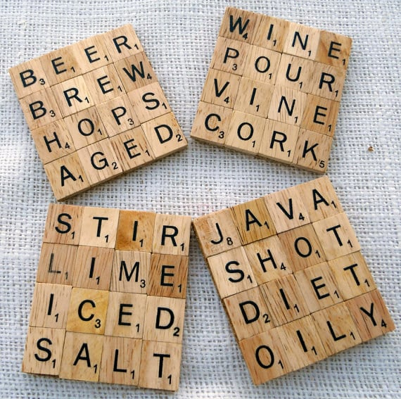 Wooden Scrabble Coasters