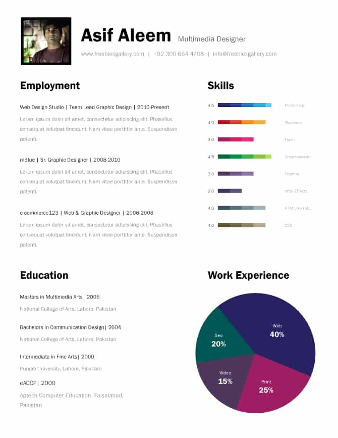 11 psd one page resume templates