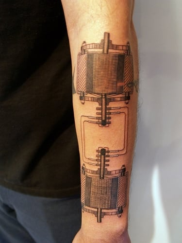 The instruments of science tattoo design