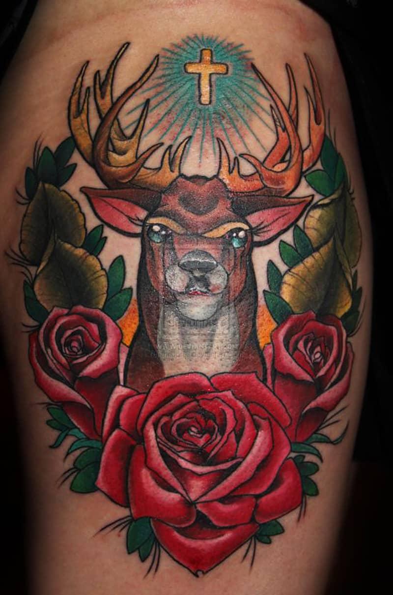 Christmas Reindeer Tattoo Design