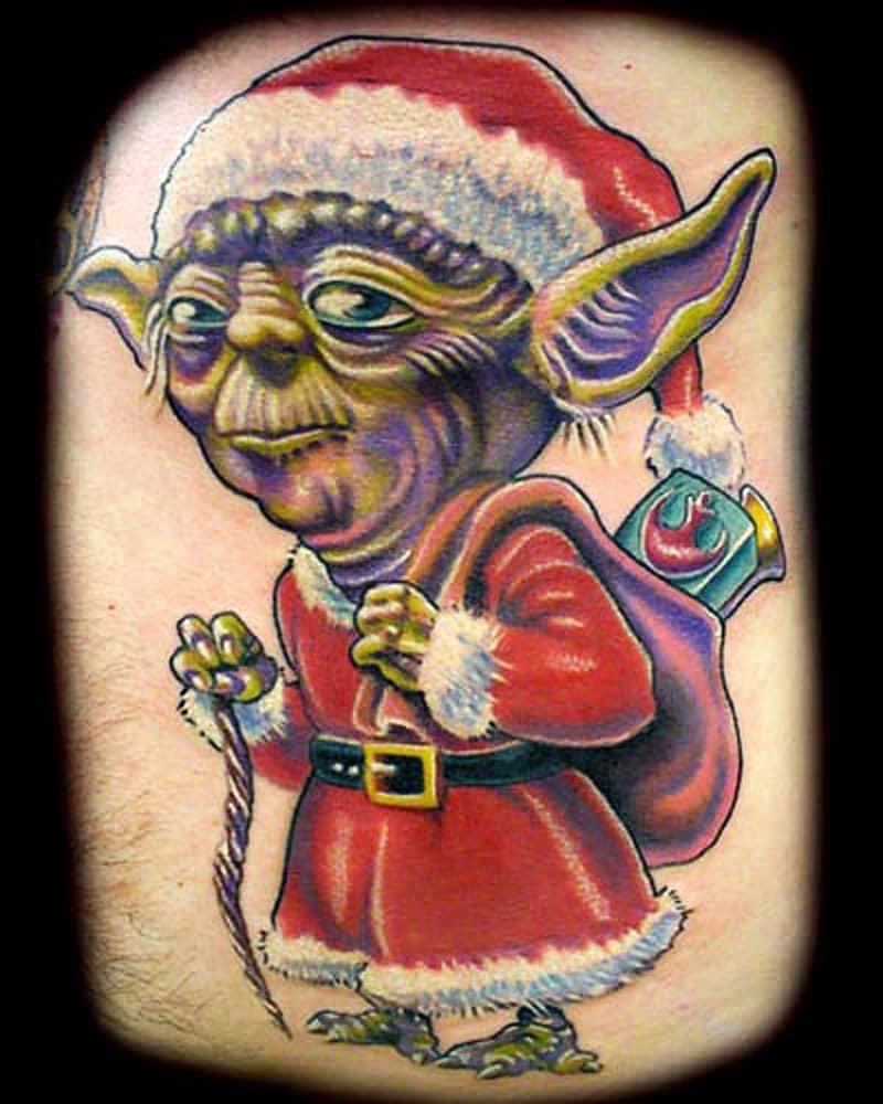 Yoda Santa Tattoo