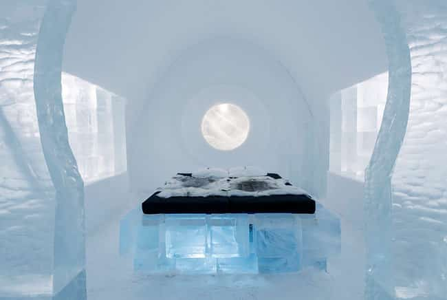 The Ice Hotel is enclosed by pristine pine forests and fauna.