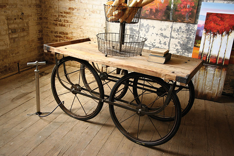Wood and Iron Rolling Cart Table