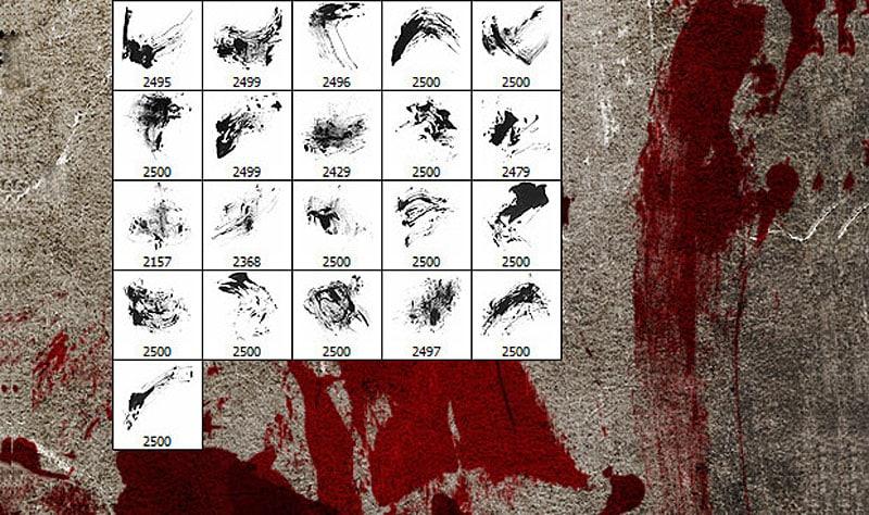 Bloodstain Photoshop Brushes