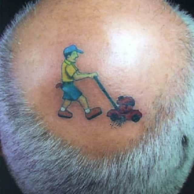 A man has had a man mowing the lawn tattooed inside the bald patch on his head
