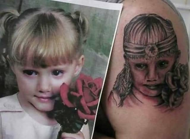A picture of a cute girl on the left and then a badly drawn tattoo on the right, which makes her look creepy