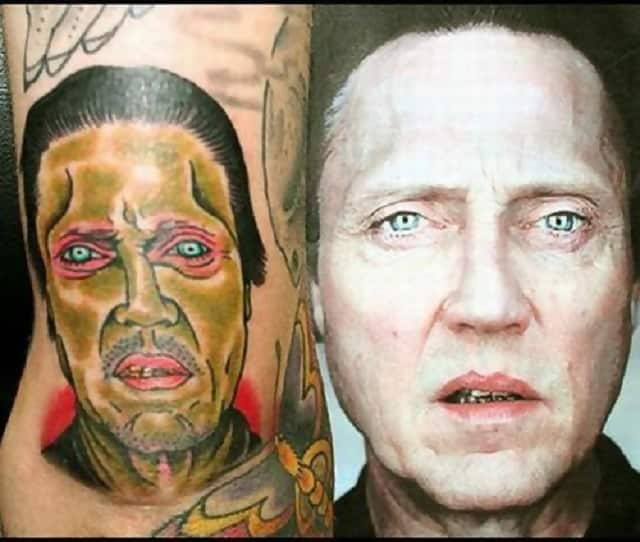 A really bad tattoo of Christopher Walken with a picture of his actual face next to it to show the difference