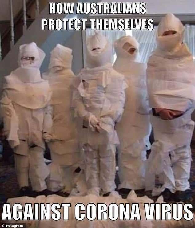 coronavirus meme of australia toiletpaper