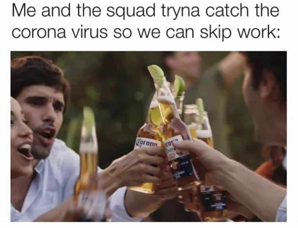coronavirus meme of friends drinking corona